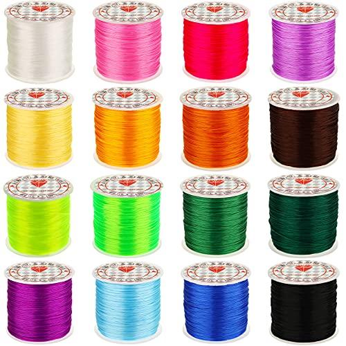 16 Rollos Cordones de Plástico de 50 Yardas Cuerdas de Gimp de Plástico Cordón de Fabricación de Joyas Cordón Elástico Cuerdas de Colores Surtidos para DIY Manualidades, 16 Colores