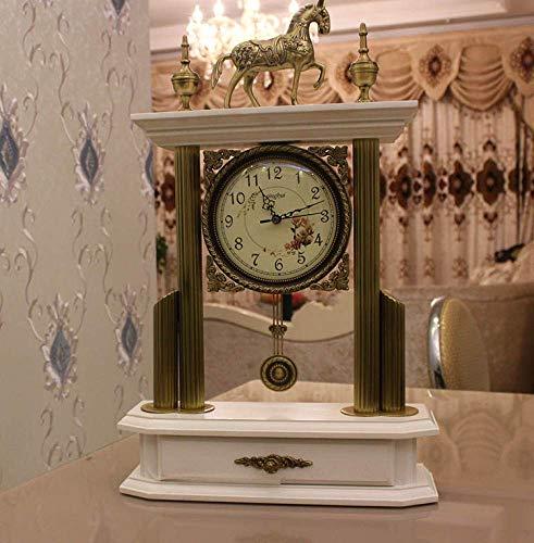 Relojes de la chimenea Permanente cuarzo del reloj de tabla libre de los relojes de la plataforma reloj de escritorio clásico retro sala de estar pendiente de silencio 59x38x13.5cm sencilla de madera
