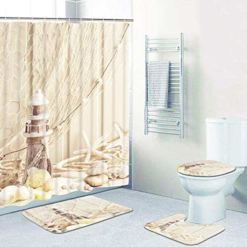 Claswcalor 4 Pcs Lighthouse Starfish Shower Curtain Sets with Non-Slip Rugs, Toilet Lid Cover and Bath Mat, Marine Ocean Beach Shower Curtain with 12 Hooks, Durable Waterproof Shower Curtain