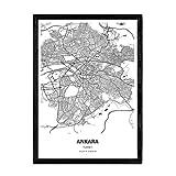 Nacnic Poster mit Karte von Ankara - Türkei. Blätter