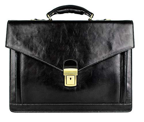 Leather Briefcase Handmade Italian Laptop Bag Classy Black - Time Resistance