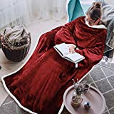 Tirrinia Sherpa Wearable Blanket Ultra Soft Comfy Warm Plush Full Body Throw with Sleeves, Reading Wrap TV Blankets Robe Cover for Adult Grandma Women and Men, Wine
