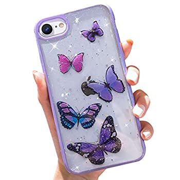 Butterfly Bling Clear Case Compatible with iPhone 6 / iPhone 6s wzjgzdly Glitter Case for Women Cute Slim Soft Slip Resistant Protective Phone Cover for iPhone 6 / iPhone 6s  4.7 inch  - Purple