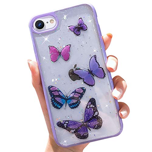 Butterfly Bling Clear Case Compatible with iPhone 6 / iPhone 6s, wzjgzdly Glitter Case for Women Cute Slim Soft Slip Resistant Protective Phone Cover for iPhone 6 / iPhone 6s (4.7 inch) - Purple
