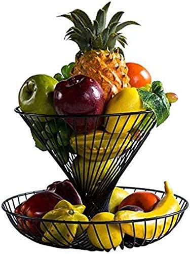 Plato de fruta Fruta Bowls Bandeja de frutas, encimera de metal negro de gran capacidad, estante de frutas para hogares de doble capa de hierro Art Bowl cesta de frutas (color: negro)