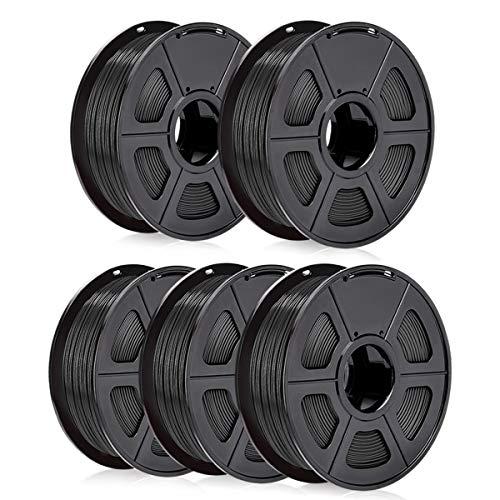 SUNLU ABS Filament 1.75mm Black (Bundle of 5kg) ABS 3D Printer Filament, Dimensional Accuracy +/- 0.02 mm,1KG per Spool, Total 5 KGs/5 Spools