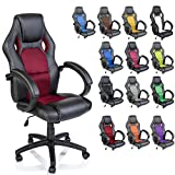 TRESKO Silla giratoria de oficina Sillón de escritorio Racing disponible en 14 colores, bicolor, silla Gaming ergonómica, cilindro neumático certificado por SGS (Negro/Burdeos)