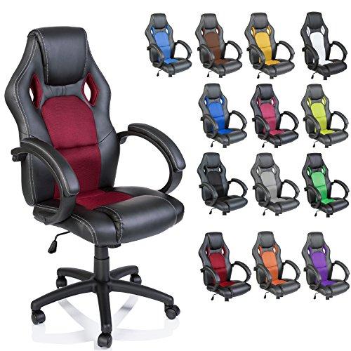 TRESKO Silla giratoria de oficina Sillón de escritorio Racing disponible en 14 colores, bicolor, si