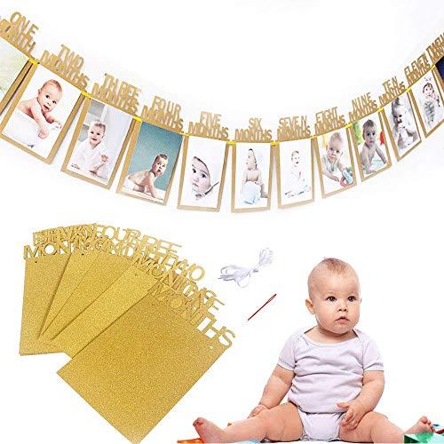 Bilderrahmen Banner zum zuerst Geburtstag, Baby 1-12 Monate Foto Girlanden aus Glitter Karte Papier für Babydusche Party Deko, Kinderzimmer Party Prop. (Gold)