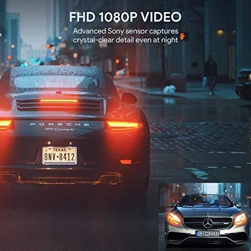 AUKEY 1080p Dashcam Vorne und Hinten【Verbesserter Sensor】Autokamera mit 170 Grad Weitwinkel, Superkondensator, WDR Nachtsicht Kamera für Auto mit G-Sensor, Bewegungserkennung, Loop-Aufnahme - 7