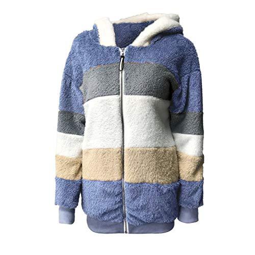 TOPKEAL Damen Kapuzenjacke Teddy-Fleece Mantel Übergangsjacke mit Kapuzen Reißverschluss Plüschjacke Fleecejacke Winterjacke Teddyjacke Wollmantel Jacke Outwear