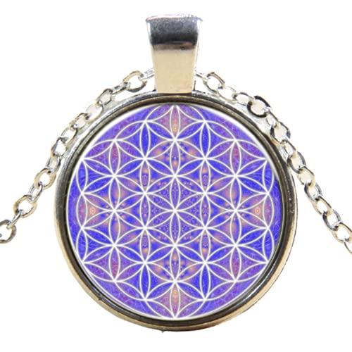 Venta al por mayor foto collar flor de la vida Ankh colgante chakra collar de geometría sagrada joyería arte cristal cabujón collar