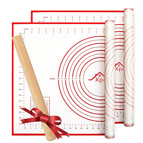 Silicone Pastry Mat 2 Pieces, Xpatee Pastry Mat with Measurement and a Rolling Pin for Counter Mat, Dough Rolling, Baking Mat, Non-Slip Fondant Mat, Pie Crust Mat -Red 16 x 24 Inches