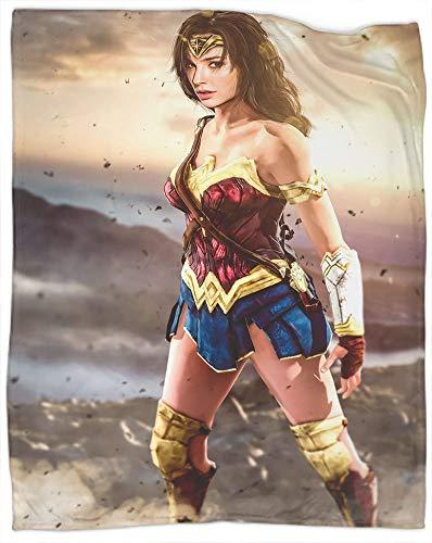 Manta de forro polar suave y mullida, de la película Wonder Woman como colcha, colcha o funda de cama, suave, ligera, cálida y acogedora, tamaño 50 x 60 pulgadas