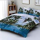 Juego de funda nórdica, piscina infinita con reflejos de palmeras y agua cristalina en Tropical Resort Juego de ropa de cama de 3 piezas con decoración fotográfica con 2 fundas de almohada, azul, verd