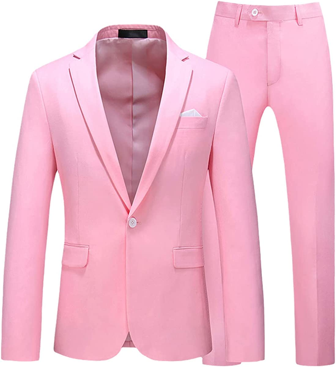 Men's Suit Jacket with Pants Candy Color Slim fit Formal Business Work Wedding Stage Tuxedo Suit