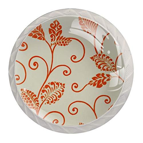Tiradores de cajones con diseño de flores color naranja retro para cocina, dormitorio, aparador, muebles de baño, puerta (4 unidades)