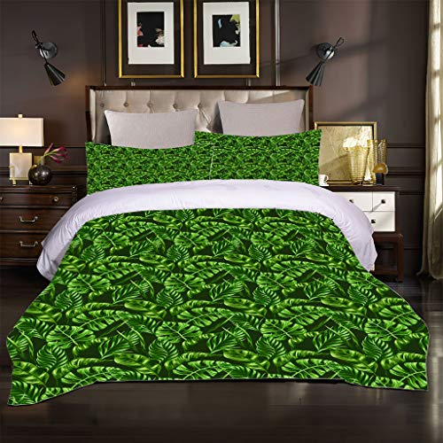 OJYUXD King Duvet Cover Set. 3 Pieces Easy Care And Super Soft Microfiber Design Green Plant Leaves Pattern Quilt Covers. Size 200X200 Cm + 2 Matching Pillowcase.