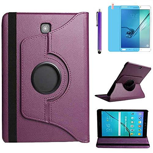 Funda para Samsung Galaxy Tab S2 8.0 2015 Casos Modelo SM-T710 SM-T713 SM-T715,360 Rotación Soporte Protección Cubrir,Tener bolígrafo,Película (Purple)