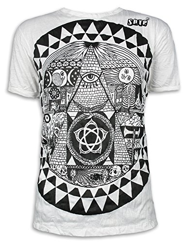 Sure Herren T-Shirt Pyramide All-sehendes Auge Illuminati Freimaurer Neue Weltordnung PSY (Weiss M)