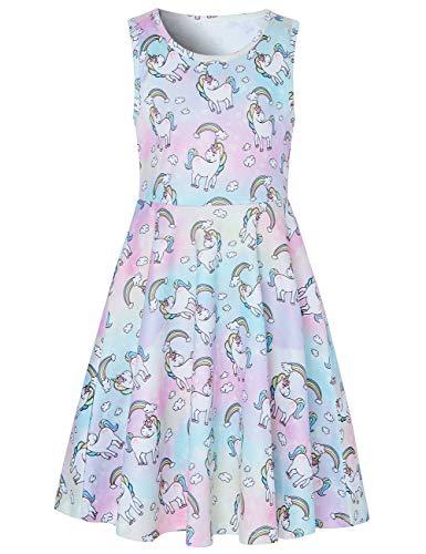 Funnycokid Girls Girls Dresses Abiti Senza Maniche in Cotone Occasioni Speciali Stampa di Cartoni Animati Prendisole Abito da Sera Senza Maniche Regalo per Bambini Swing Dress, Unicorn a, 4-5 Anni
