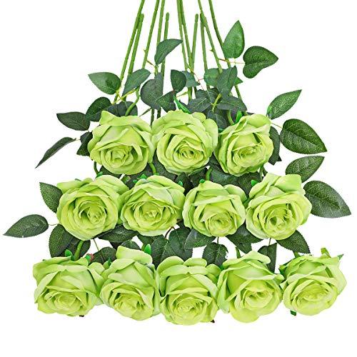 Tifuly 12 PCS Künstliche Rosen, 19,68 '' Single Long Stem Fake Rose Seide Braut Hochzeitsstrauß Realistische Blume für Hausgarten Party Hotel Büro Dekor (Blüten Rosen, Grün)