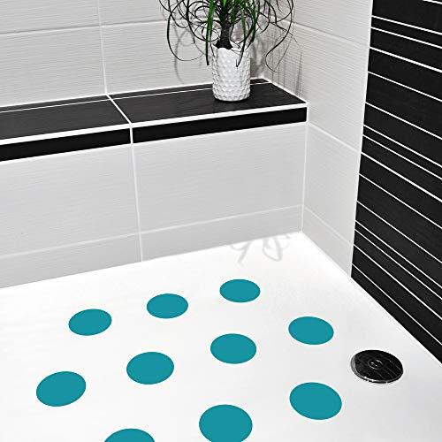 AnTina TAPES 10 STK. farbige Antirutsch Aufkleber für Duschen & Badewannen | C DIN 51097 | Antirutschsticker | selbstklebend | ultradünn | (türkis)