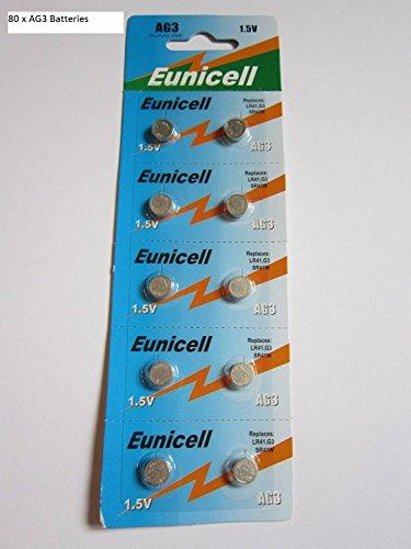 Eunicell, batterie AG3, 8 blister per un totale di 80 batterie, prodotto di marca