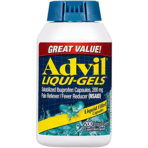 Advil Liqui-Gels Pain Reliever and Fever Reducer, Solubilized Ibuprofen 200mg, 200 Count, Liquid Fast Pain Relief