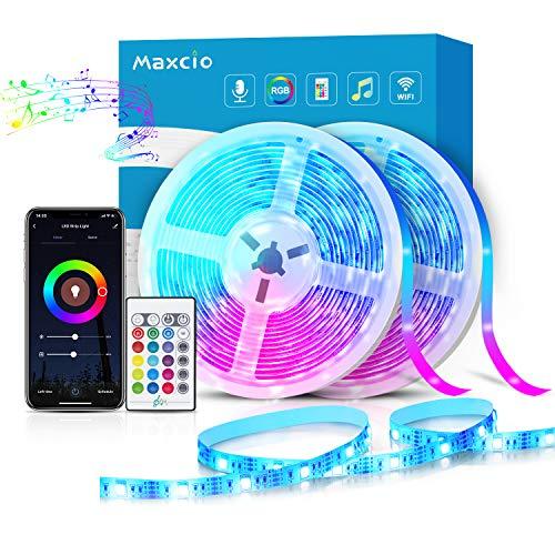 Alexa LED Strip Lichtband 10m, Maxcio Smart RGB Led Streifen mit Fernbedienung, LED Band Lichterkette, Kompatibel mit Alexa, Google Home, Smart Life App, Sync mit Musik für Party, Weihnachten