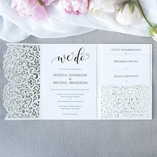 Weiß gefaltet Einladungskarten + KUVERT Lasergeschnittene mit Spitze - Hochzeitskarten Einladungen edles Papier für Gebustag, Hochzeit, Taufe, Scrapbooking MUSTER- Vorgedrucktes Sample!