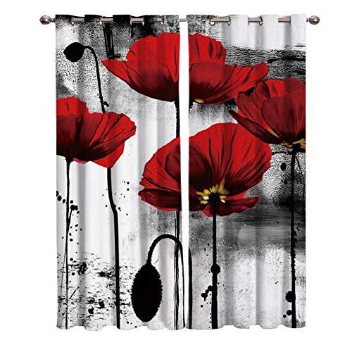 Vacio Cortinas para Habitación de Salón Térmicas Aislantes Flor de Amapola roja Negra Blanca UV la Luz Proteccion Privacidad con Ojales para Dormitorio 140x250cm x2