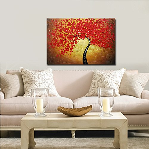 Wieco Art Red Flowers Oil Paintings Reproduction on Canvas Wall Art Ready to Hang for Bedroom Kitchen Home Decoration Large Modern 100% Hand Painted Stretched and Framed Pretty Abstract Floral Artwork