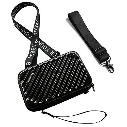 Flywill Handy Umhängetasche Hart ABS + PC Mode Damen Schultertasche Kupplung 3D Streifenmuster Handtasche mit Abnehmbar Schultergurt Handschlaufe Klein Tasche für Handy unter 6.5 Zoll, Schwarz