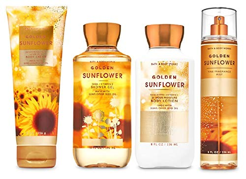 Bath and Body Works GOLDEN SUNFLOWER - Deluxe Gift Set Body Lotion - Body Cream - Fragrance Mist and Shower Gel - Full Size