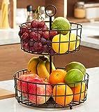 Fruit Basket, Counter 2-Tier Fruit Basket for Kitchen, Detachable Fruit Stand Storage Baskets for Fruits, Breads, Vegetables, Housen Solutions (Black)