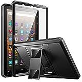 MoKo Hülle Kompatibel mit All-New Kindle Fire HD 10 und 10 Plus Tablet (11. Generation 2021), Ganzkörper-Rugged Hybrid Stand Cover Schutzhülle mit Integriertem Bildschirmschutz, Schwarz