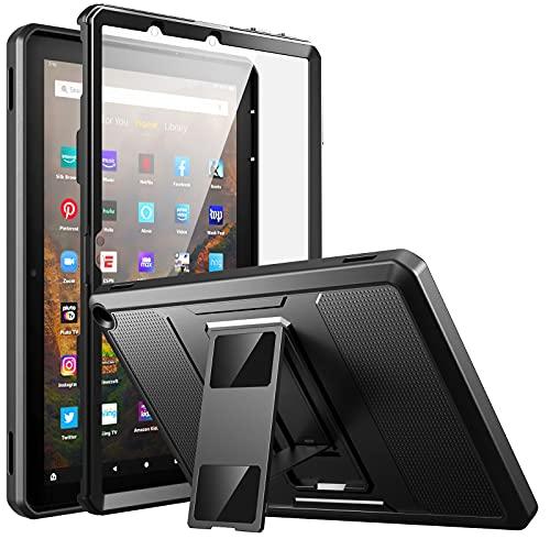 MoKo Custodia Compatibile con Nuovo Kindle Fire HD 10 & 10 Plus Tablet (11a Generazione, 2021 Versione), Case con Supporto a Doppio Angolo, in TPU e PC, con Pellicola Protettiva, Nero