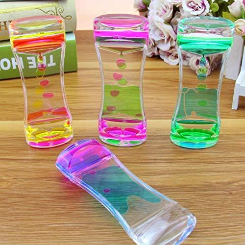 Isuper Zweifarbiger Sanduhr-flüssiger Bewegungs-Bubbler-Timer für entspannende Therapie entlastet Druck und erhöht Zappeln-Spielzeug-Blau und Rosa