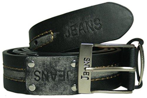 bay24| Hombre y Mujer Jeans Cinturón Correa hebilla XXL 3,5cm ancho Señor Cinturón Mujer Cinturón 3,5cm | * kb03Negro/Gris negro/gris 134/140 cm