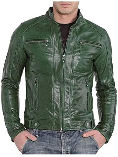 Chaqueta de cuero verde para hombre, estilo clásico Cafe Racer para motocicleta, color negro