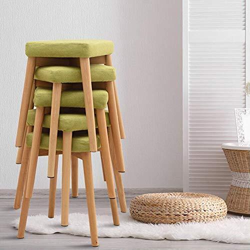 CJC kruk van massief hout, stapelbaar, gevoerd, voetensteun, slaapkamerbank, make-uptafel, eetkamerstoelen