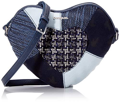 Desigual Bag Liberté Patch Heart, Bandolera para Mujer, azul (navy), 25.5x2x32 centimeters (B x H x T)