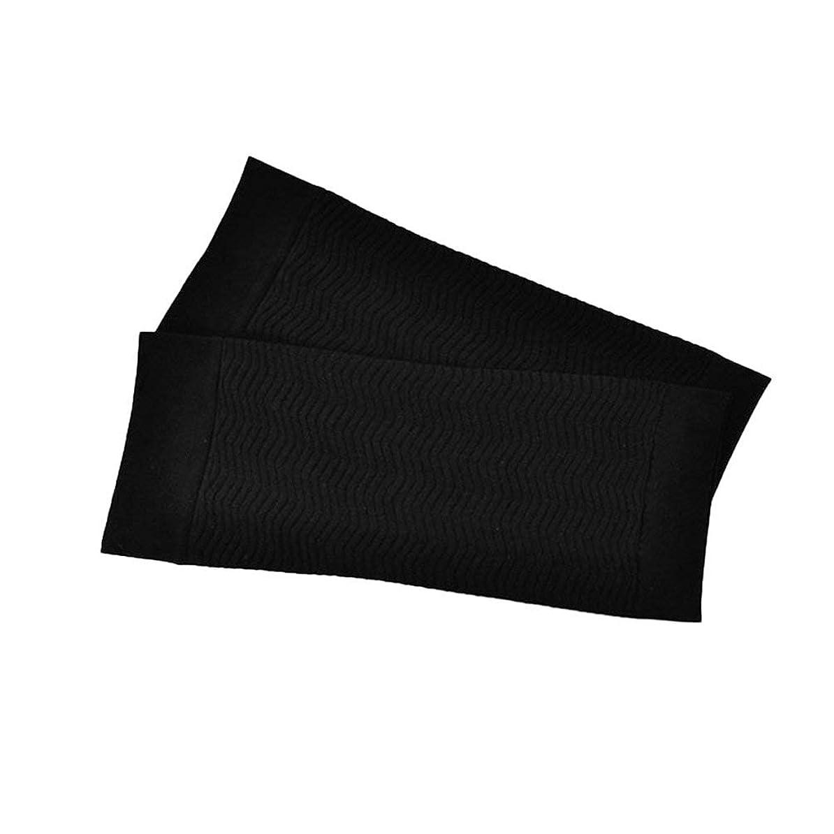 サークル接触先行する1ペア680 D圧縮アームシェイパーワークアウトトーニングバーンセルライトスリミングアームスリーブ脂肪燃焼半袖用女性 - ブラック