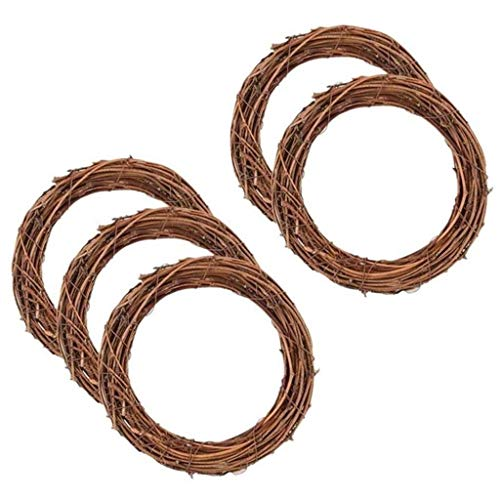 5 Pack 30CM Retro Christmas Wreath Natural Grapevine Wreath Dry Rattan Natural Wreath DIY Crafts for Xmas Door/Wall Decor Hand-woven Halloween Wreath
