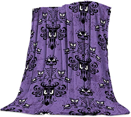 Jeewly Couverture de lit en Flanelle Happy Halloween Haunted Mansion Design Throw Blanket All Season Warm Fuzzy Light Weight Cozy Plush Blankets for Living Room/Bedroom 40\