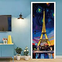 QWEFGDF PVCドアステッカー 3Dドアステッカー,居間寝室部屋のドア装飾用の 91x203 cm ナイトタワー