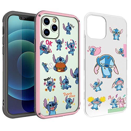 PICAVINCI SwitchME Schutzhülle für iPhone 12 & 12 Pro, Lilo Stitch Pack Cute Cartoon Pink Clear Matte Hybrid Schutzhülle
