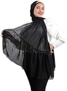 طرحة - شيفون كريب- كورنيشة - لون أسود - جودة عالية