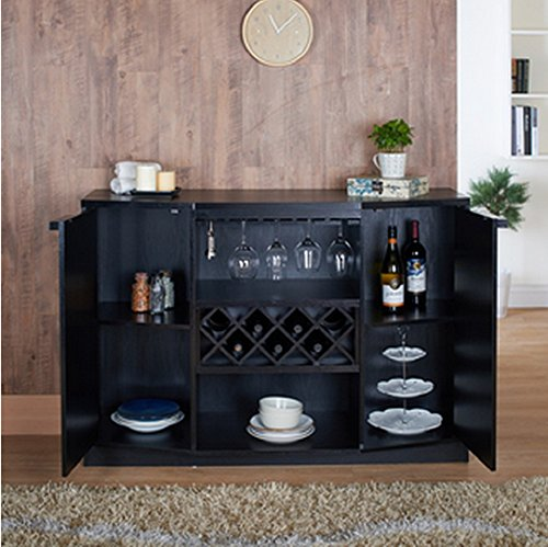 Wine BAR Buffet and Storage Cabinet with Center Glass and Wine Rack, Side Shelves, and Open Focal Point Shelf (Black)